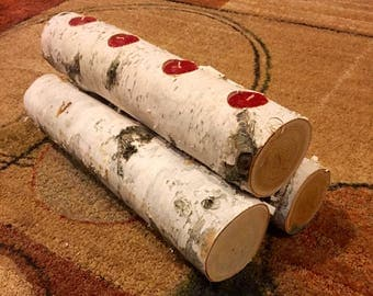 Birch Fireplace Log Candle Holder