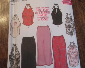 Women Top and Skirt Patterns, New Look (Simplicity) 6043, Sizes 6 to 16.
