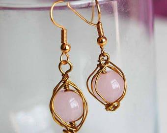 Rose Quartz Wire Wrapped Earrings - Handmade Earrings