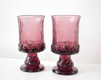 Vintage Raspberry Purple Red Colored Glass Goblets - Set of 2