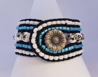 Boho style beaded floral bracelet