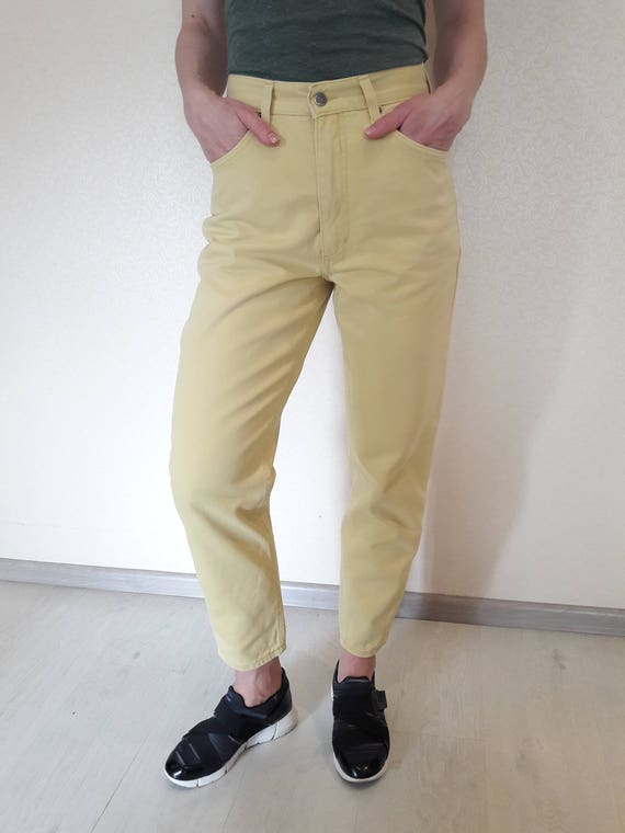 High Waisted Yellow Jeans vintage high waisted jeans mom