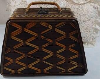 """Vintage Wicker Basket Handbag Purse 9"""" x 7"""""""