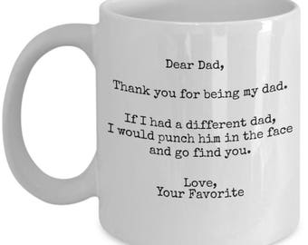 Funny Father's Day 2017 Gifts - I'd punch Another Dad In The face Tea Coffee Mug  Gag Gift From Your Favorite Child son daughter Fun Novelty