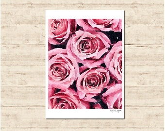 Pink Rose Watercolour Painting Postcard Poster Art Print Q213