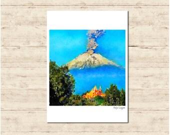 Popocatépetl Volcano Mexico Watercolour Painting Postcard Poster Art Print Q294