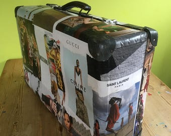 Retro Suitcase with designer decoupage with fully functioning clasps