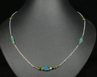 Necklace chain blue Apatite )( Peridot ( black Spinel )( completely natural bead precious gemstone stone silver plated jewelry gift (#BJ3)