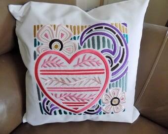 Mola Heart Toss Pillow cover