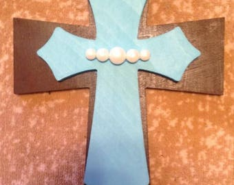 Blue and Brown Pearl Double Cross