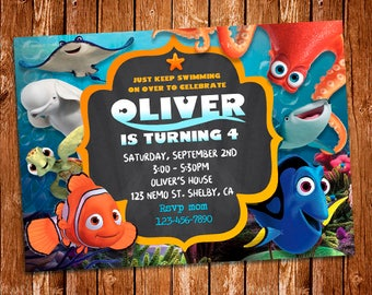 Finding Dory Invitation, Finding Dory Invite, Finding Nemo Invitation, Dory birthday, Nemo Party,Finding Dory Birthday Invitation, Dory