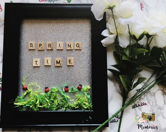 Spring Time Framed Scrabble Wall Art With Glitter Detail, Lady Bugs, and Grass