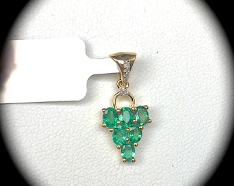 Emerald and Diamond Pendant 9ct Y Gold  'Certified' Fab Colour & Clarity!