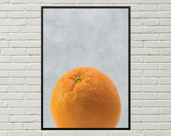ORANGE fruit art print, orange print fruit digital print, orange art print minimalist art instant download, orange kitchen orange home decor