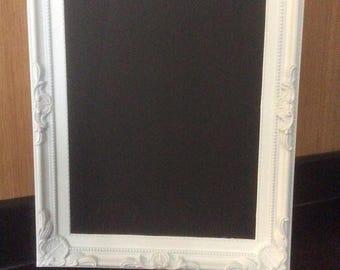 """Chalkboard / Blackboard 10.5 x 7.5"""" in an ornate White Frame"""