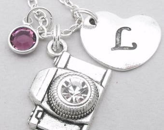 Camera with crystal lens heart initial necklace   camera charm necklace   camera pendant   personalised camera necklace   camera jewelry