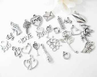 24PC Valentine Charms, Love Charms, Silver Charms, Jewelry Findings, Jewelry Making Supply
