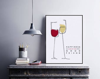 print, design, wine, quotes, printable, happiness, cheers, artwall, posters