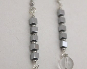 Earrings Picasso, Made in Italy, Crystal, Onix, Hematite
