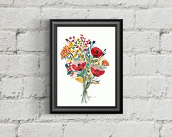 Floral Bouquet Watercolor Giclee Print
