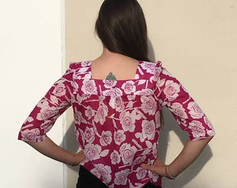Lily White brand, Magenta blouse with roses