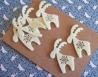 6 Laser Cut Felt Reindeer, Christmas Craft Supplies, White Reindeer, Scrapbook Embellishments, Christmas Applique, Felt Shapes