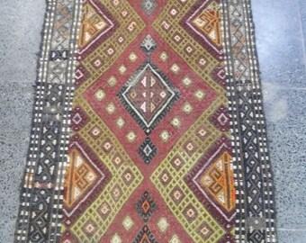 "Oushak kilim rug,Turkish yastik rug,home living,1'7×3'4""feet,cicim kilimare rug, floor rug,vintage carpet kilim, pastel colorrugs, rug, s,"