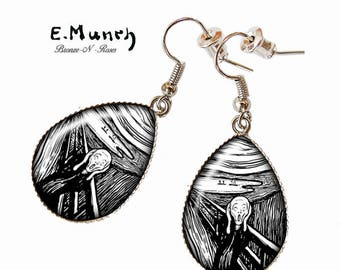 """Drop earrings silver of Edvard Munch """"the scream"""" lithograph"""