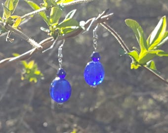 Sapphire Glass Mix Drop Earrings