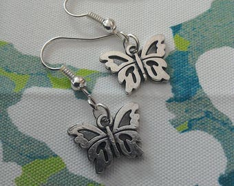 Butterfly charm earrings in Tibetan silver plate