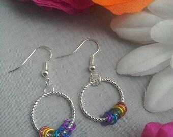 Rainbow coloured Pride silver hoop detail earrings