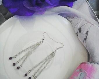Amethyst swarovski radiant long drop earrings