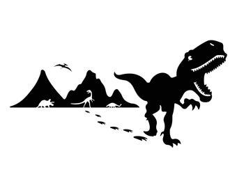 Dinosaurs T-Rex Graphics SVG Dxf EPS Png Cdr Ai Pdf Vector Art Clipart instant download Digital Cut Print File Cricut Silhouette Decal Shirt