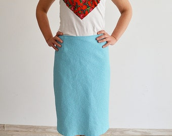 Blue midi skirt, pencil skirt, woman, 36 S