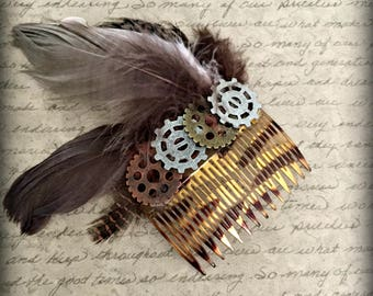 Steampunk Feather Hair Comb, Feather Comb, Hair Comb, Steampunk Gears Comb