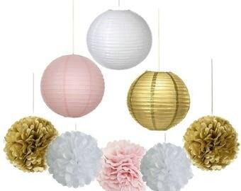 Pack of 9 Gold Pink White Paper Crafts Tissue Paper Pom Poms Flower Balls Paper Lanterns for Princess Baby Shower Wedding Party Decoration
