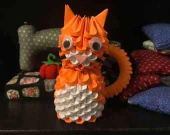 3d Origami Cat - Orange/White - READY TO SHIP