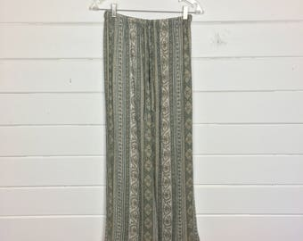 Vintage 1990s Gap Rayon Wide Leg Pants / Drawstring Waist / Olive Green & Tan / Paisley