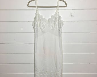 Vintage 1950s White Eyelet Slip / Lingerie / Scalloped Hem / Embroidered