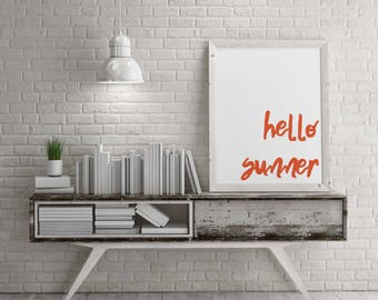 Orange Typography Hello Summer Party Poster|Minimalist Entry Wall Art|Luau Party Instant Download|Hawaiian Party Print