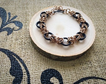 Chainmail Bracelet - Two Tone, Byzantine Weave in Black and Rose Gold