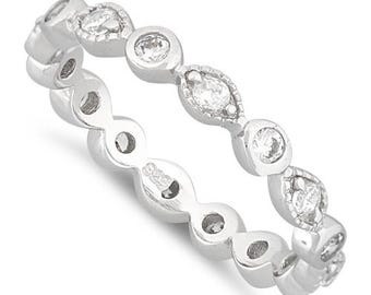 Sterling Silver - Cubic Zirconia - Stackable Eternity Ring
