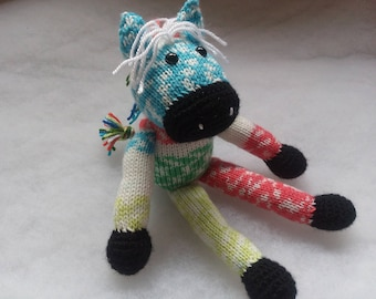Rainbow Zebra Nr.2 - Knitted Soft Toy