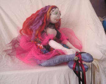"Unusual handmade doll. 17"" tall"