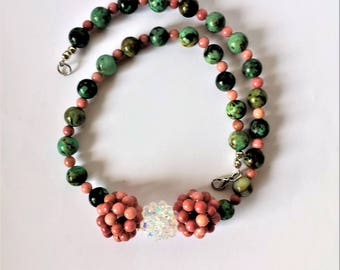 Pink rhodonite, African turquoise and crystal bead necklace