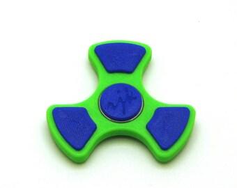 3D Printed Fidget Spinner (Light Green/Dark Blue)
