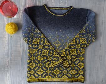 Jacquard hand-knit sweater Blue Sky