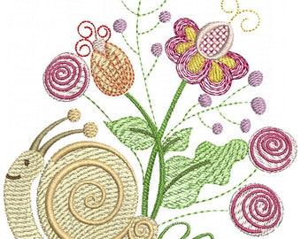 Garden Snail - Machine Embroidery Design
