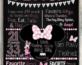 16x20 Minnie Mouse Chalkboard, Printable Chalkboard, Minnie Mouse Party Decoration