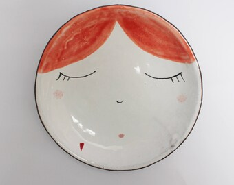 Sleepy red hair girl - ceramic plate, bowl